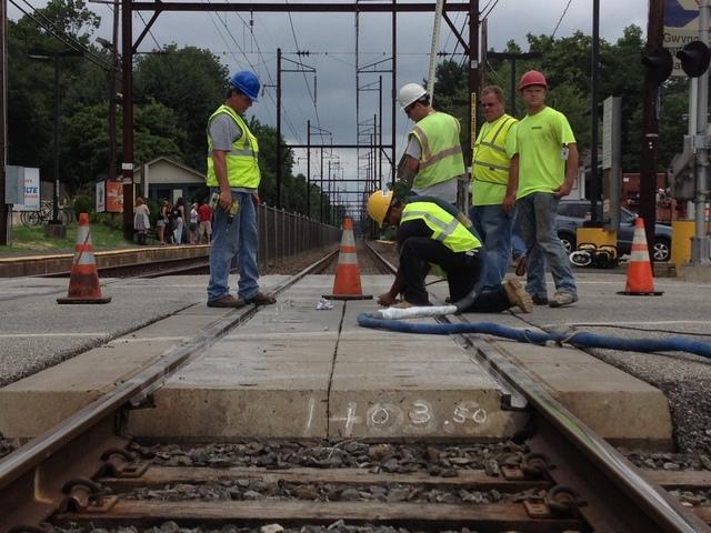 Lifting Concrete at Gwynedd Train Station - After Photo