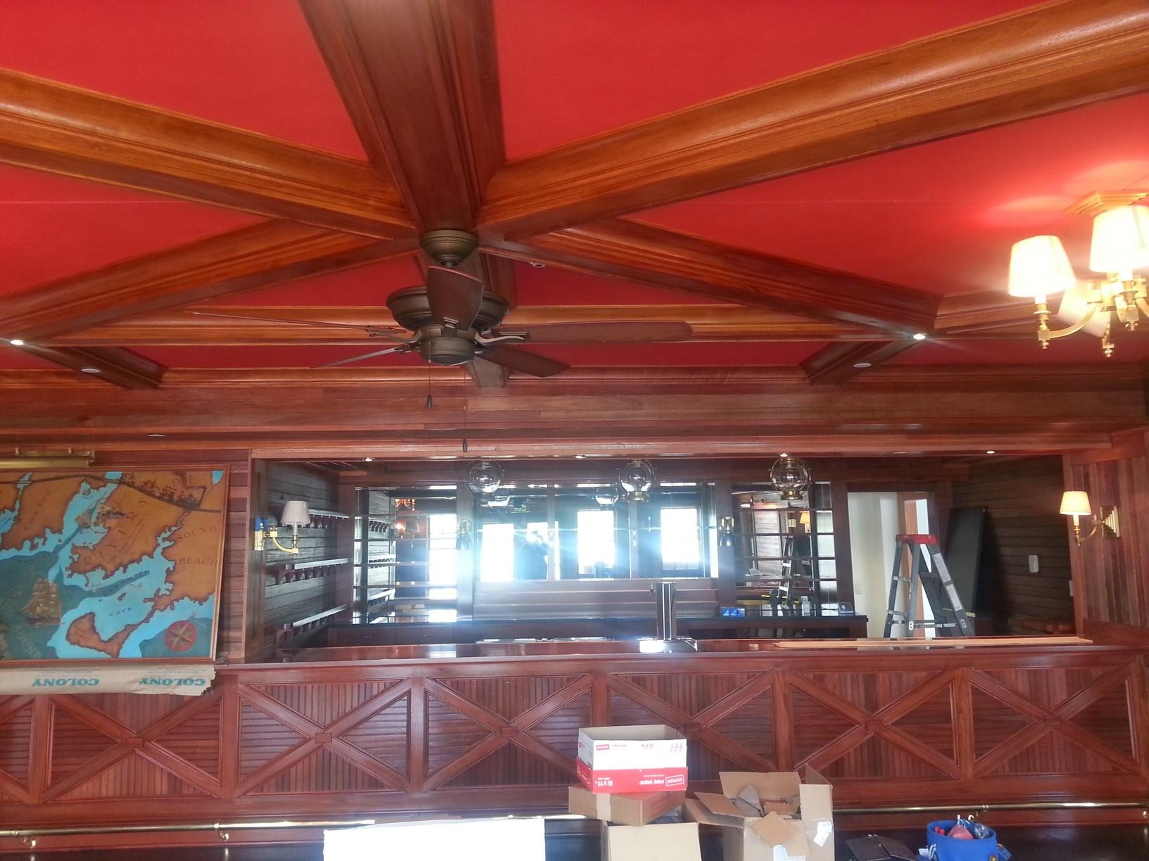 Riverside Yacht Club Ceiling Stained in Greenwich CT - After Photo