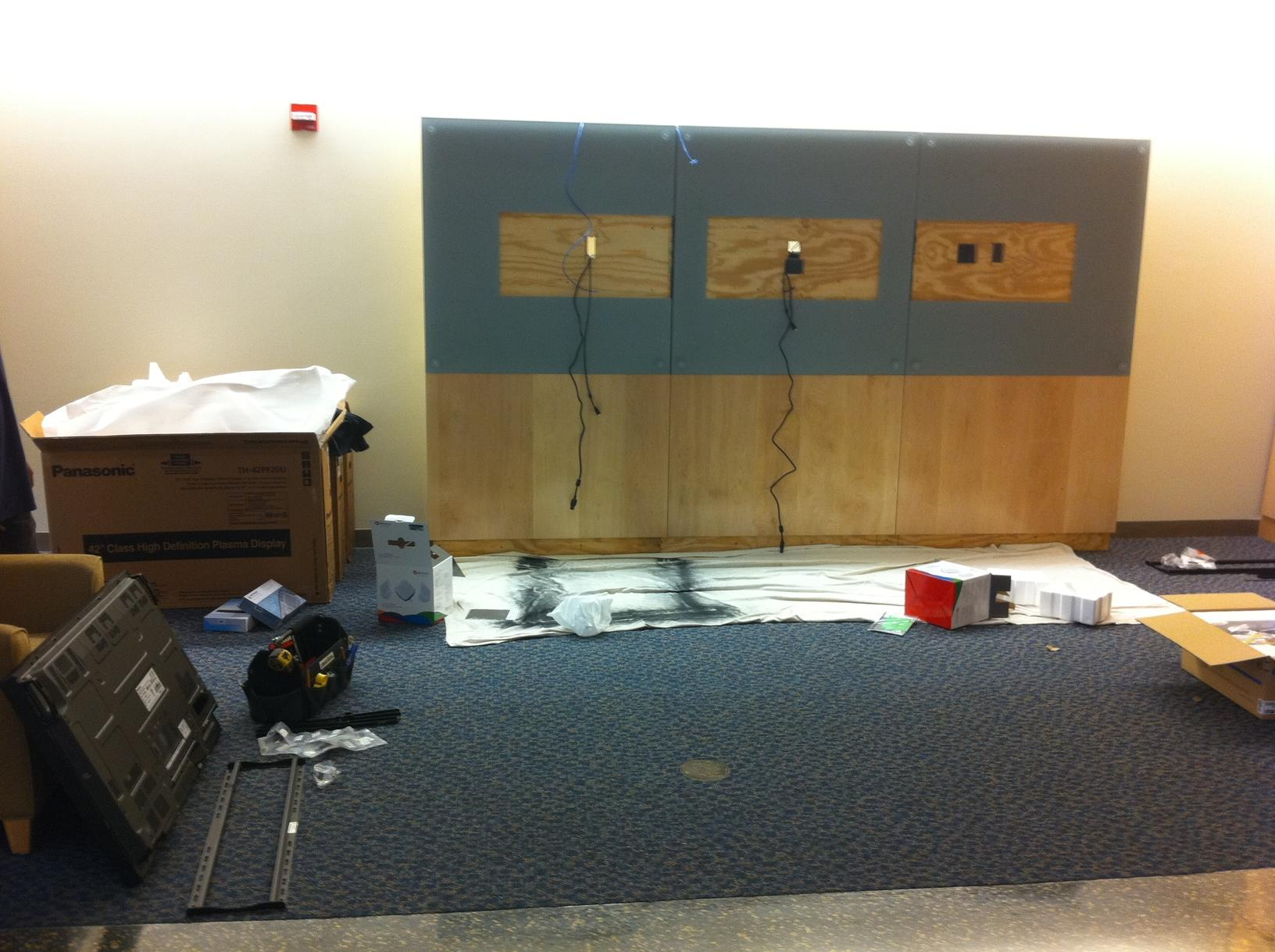 Midstate Medical Center 3 screen video wall filmstrip in Meriden, CT. - Before Photo