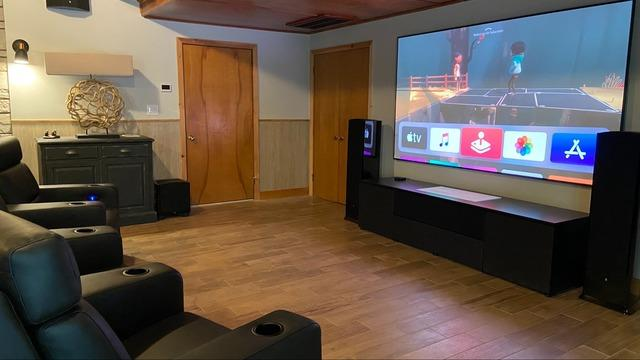 Home Theater Room with short throw projector in Bristol, CT.