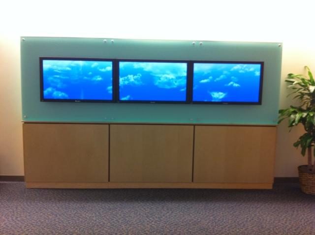 Midstate Medical Center 3 screen video wall filmstrip in Meriden, CT. - After Photo