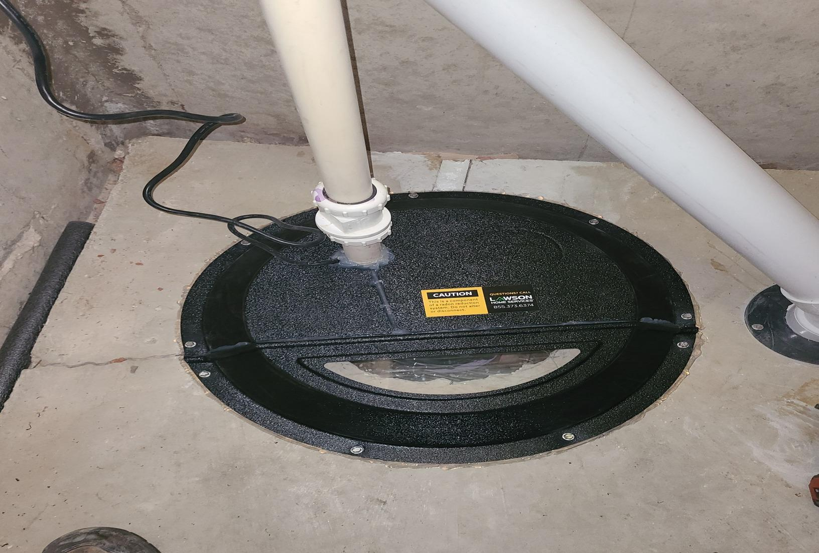 Radon and an open sump pump pit. - After Photo