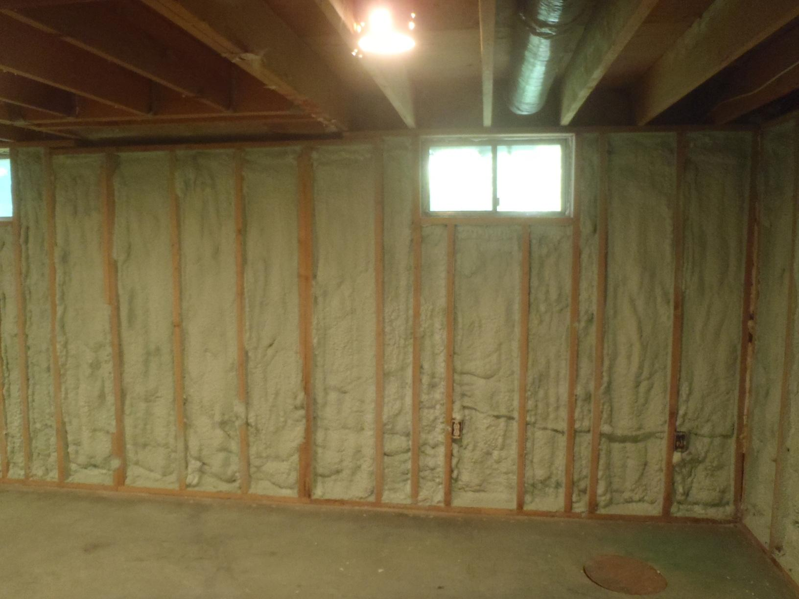 Spray Foam Insulation Installation in a Newark, DE Basement - After Photo