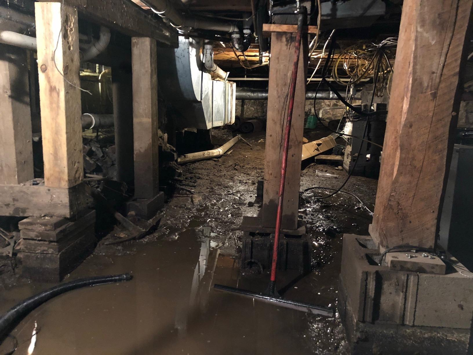 Flooded Basement Kept Dry Using CleanSpace and TripleSafe™ Sump Pump in Hayward, MN - Before Photo
