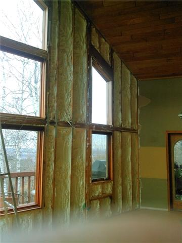 Living Room Wall Insulated in Two Harbors Home