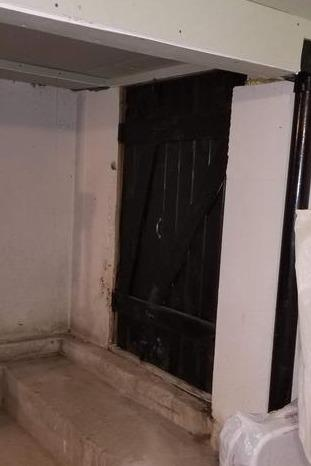 Upgrading Exterior Door to Crawlspace in Richmond, MA - Before Photo
