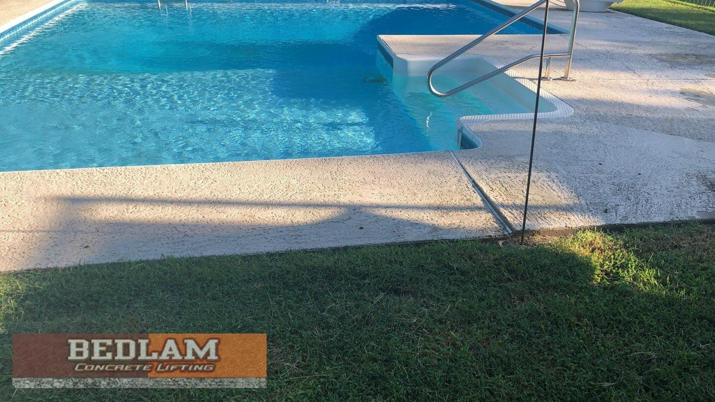 Sinking Pool Deck Repair in Owasso, Ok - Before Photo