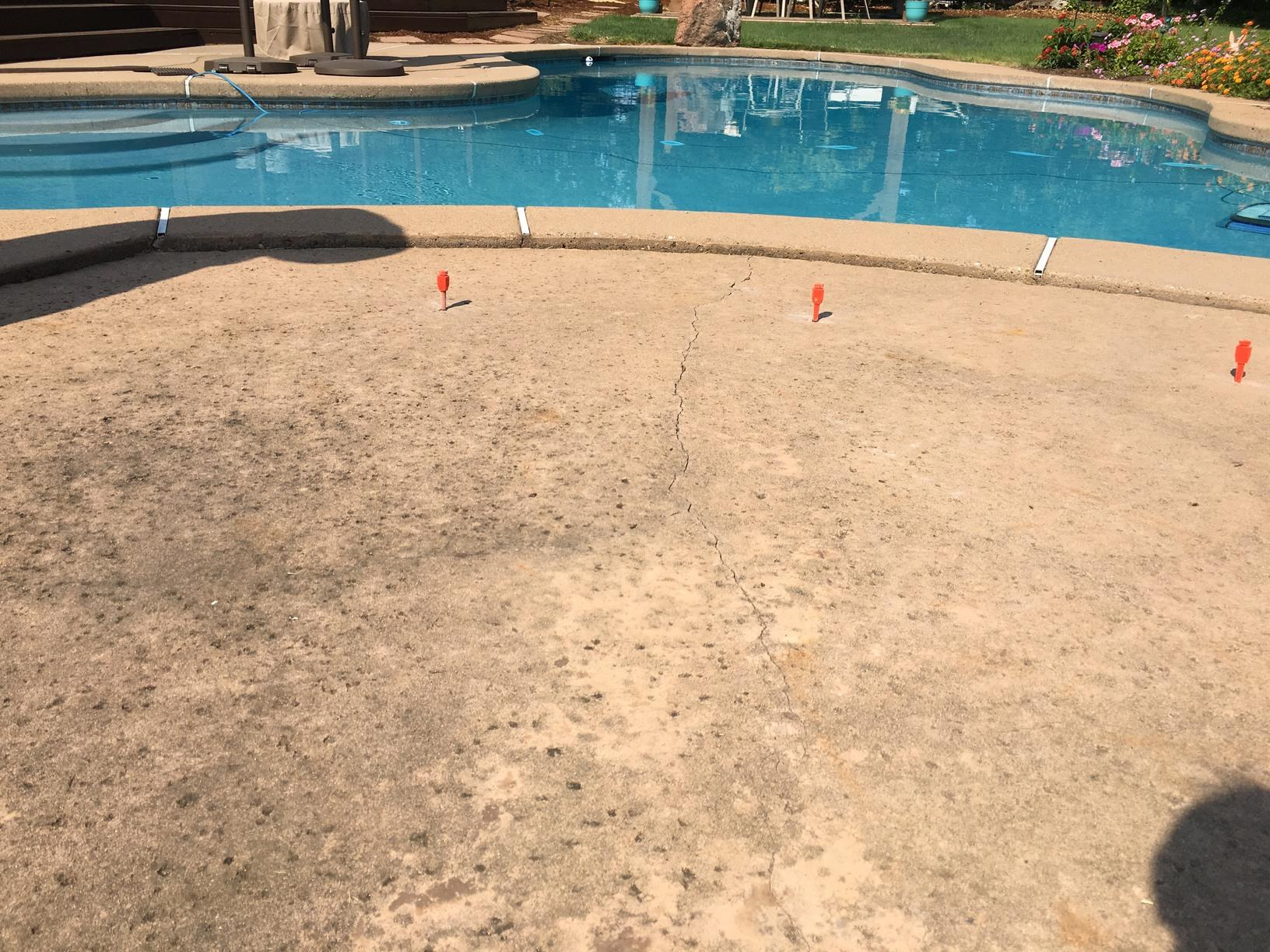 Pool Deck Polylevel Lift in Granite Bay, CA - Before Photo