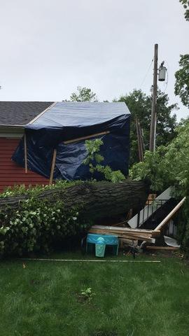 Tree Collapse on Lake Bluff, Illinois Home