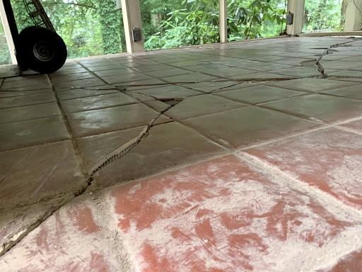 Sinking Concrete Sun Room Repaired in Simpsonville SC