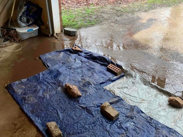 Garage/Driveway Drainage for Standing Water in Easley SC - Before Photo