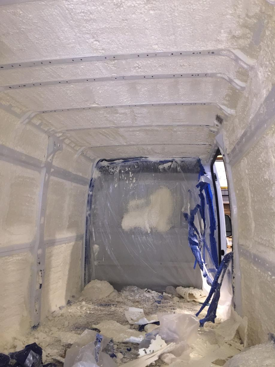 Closed cell insulation inside van  - Before Photo