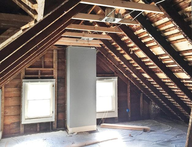 Third Story Attic Renovation - Open Cell Spray Foam - Before Photo