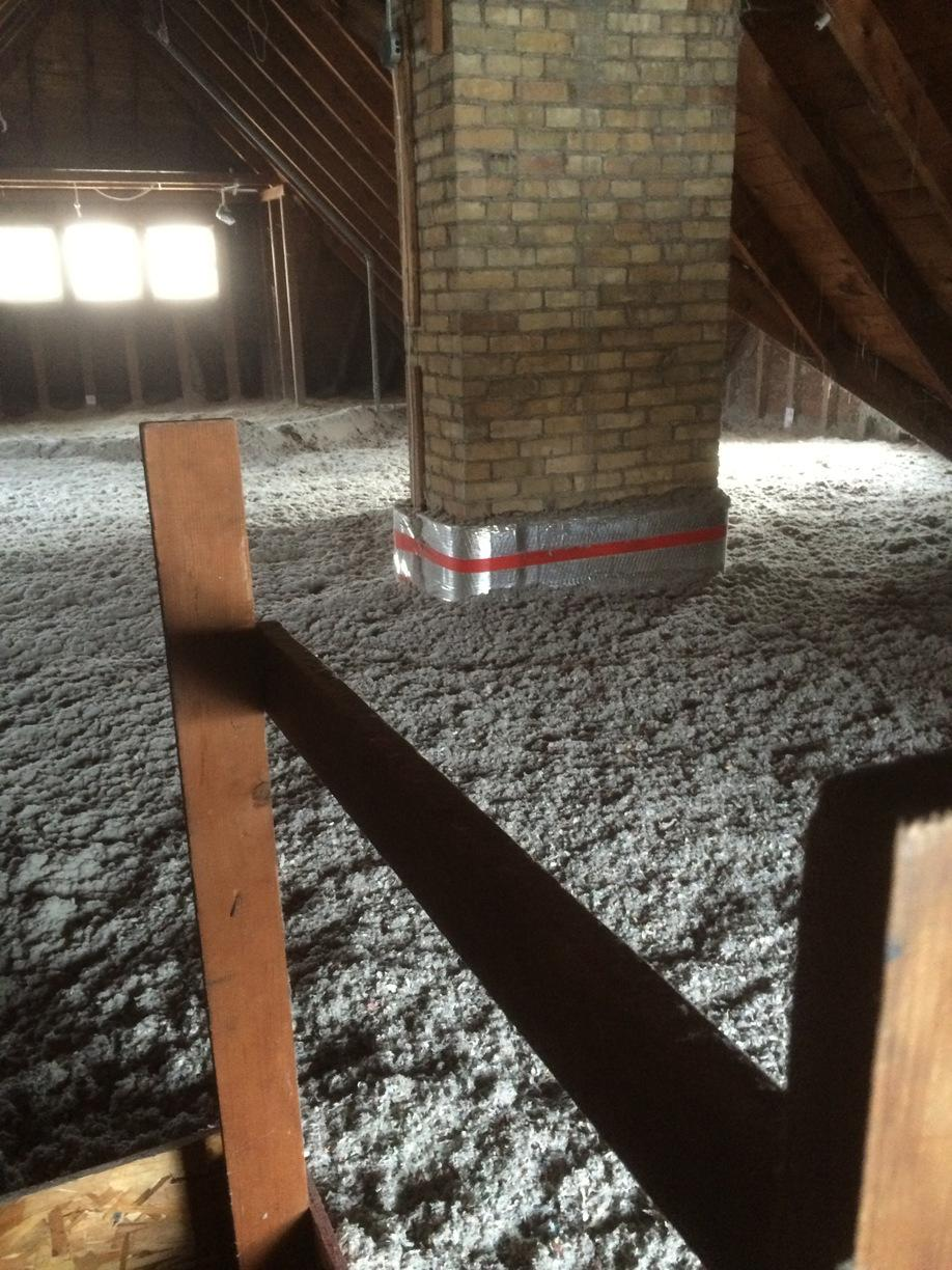 Using RockWool to Safely Insulate Around a Working Chimney in Oshkosh, WI - After Photo