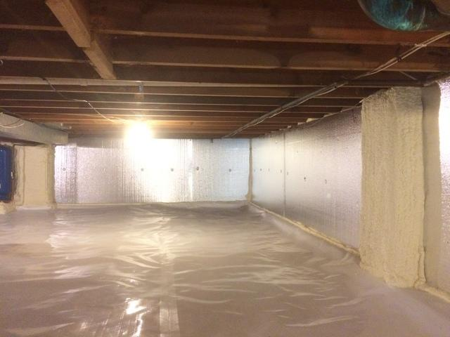 Adding Clean Space Matting and Spray Foam to unfinished crawl space in Oshkosh, WI
