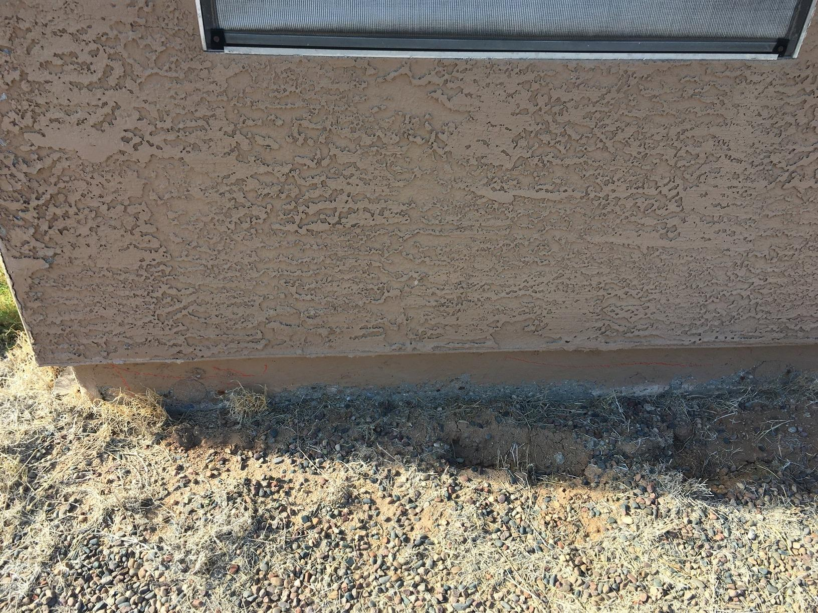 Concrete Stem Wall Repair - Gilbert, AZ - Before Photo