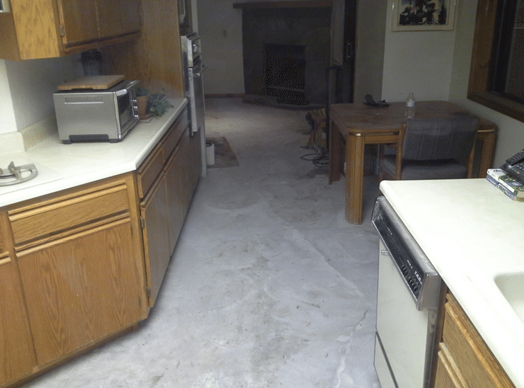 Large Crack in Kitchen floor fixed by Crack Stitching - After Photo