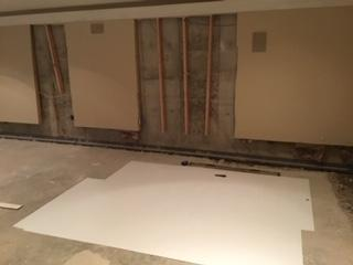 BrightWall used to drain wall leaks into WaterGuard Basement Waterproofing System in Fort Thomas, KY - Before Photo