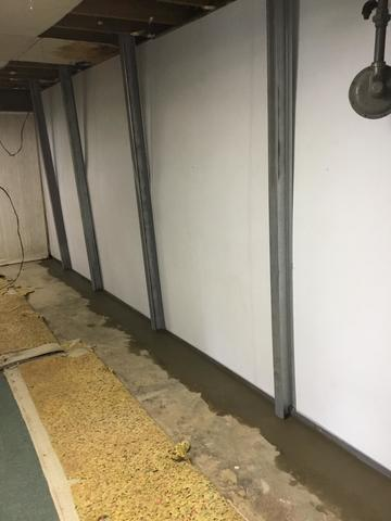 PowerBraces, WaterGuard and BrightWall resolves a bowing wall with water seepage in Cold Springs, KY