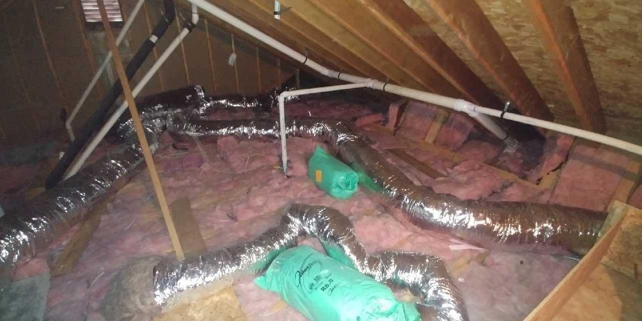 Blown in Cellulose Insulation in an Attic in Cherry Hill, NJ - Before Photo