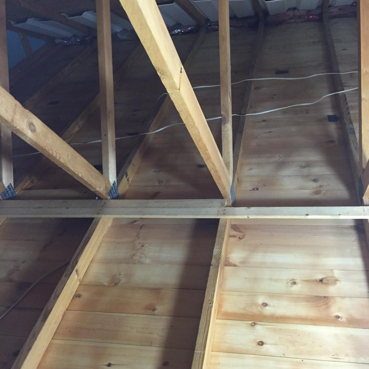 Tongue and groove ceiling to spray foam insulation, Bradford Woods, PA - Before Photo