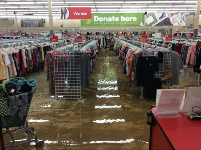 Commercial water damage repair in Eastlake, OH thrift store - Before Photo