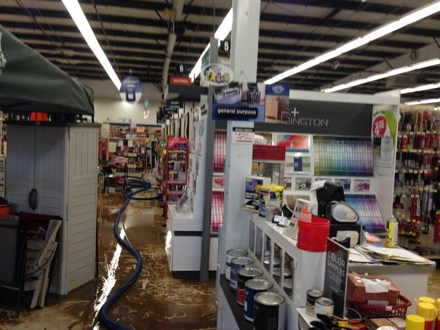 Water damage repair in hardware store, Willoughby, OH - Before Photo