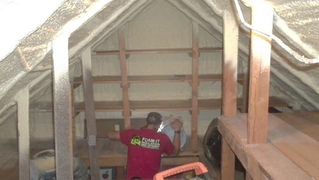 Spray Foam Insulation in Attic, Richford, NY