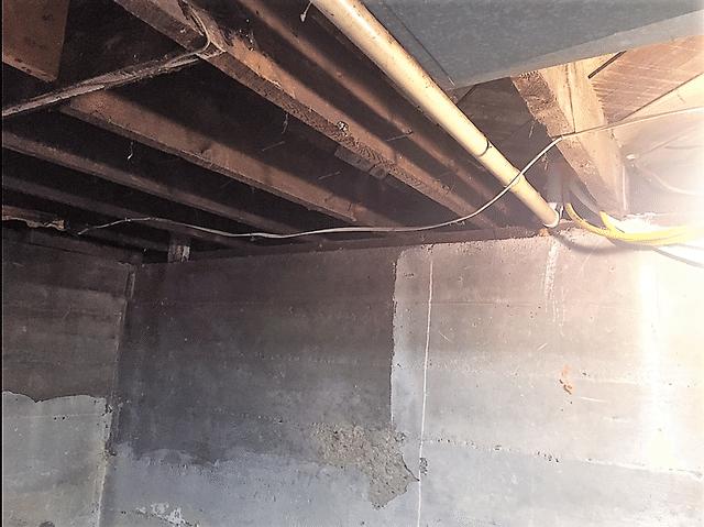 Binghamton, NY Applying Spray Foam Insulation to the Basement Rim Joist - Before Photo