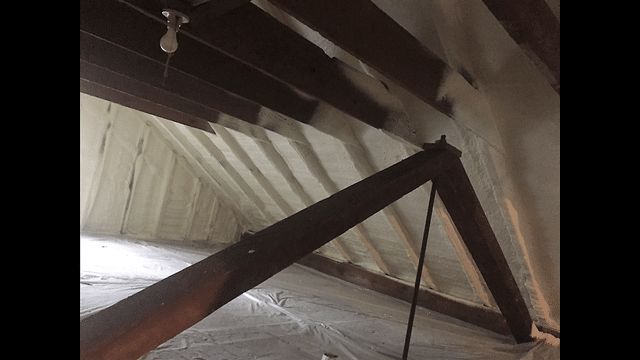 Montrose, PA Spray Foaming an Attic Ceiling