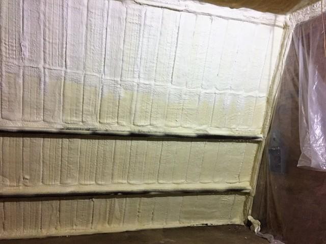 Friendsville, PA Spray Foaming a Garage Wall