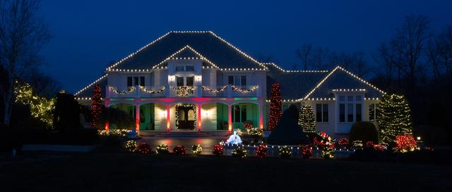 Beautiful Red and Green Lighting in Colts Neck, NJ