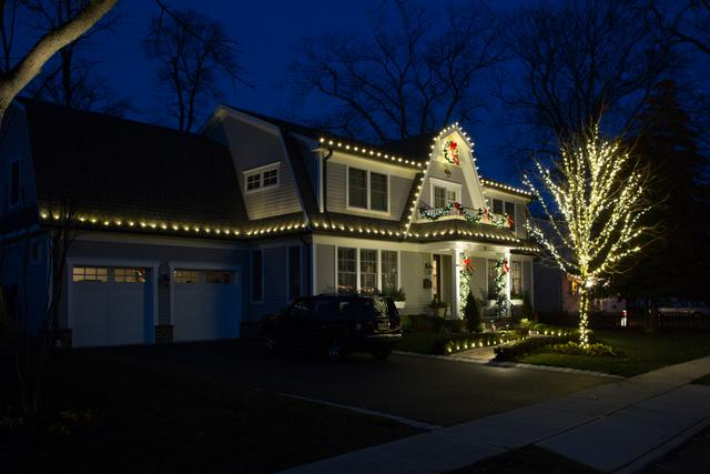 Pretty lights decorate this Morganville, NJ home
