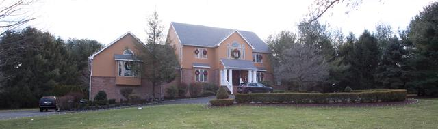 House on Hill Decorated for the Holidays in Colts Neck, NJ