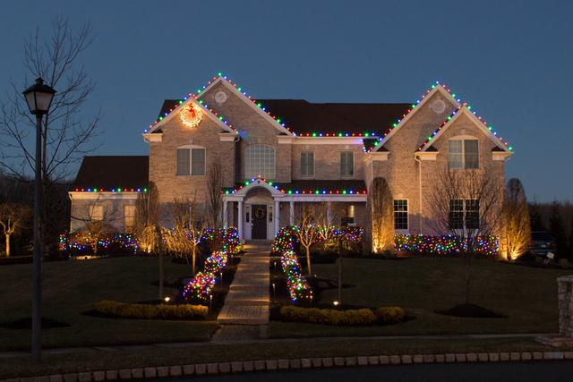 Multi-Colored Lights Brighten this Home in Monroe Township, NJ - After Photo
