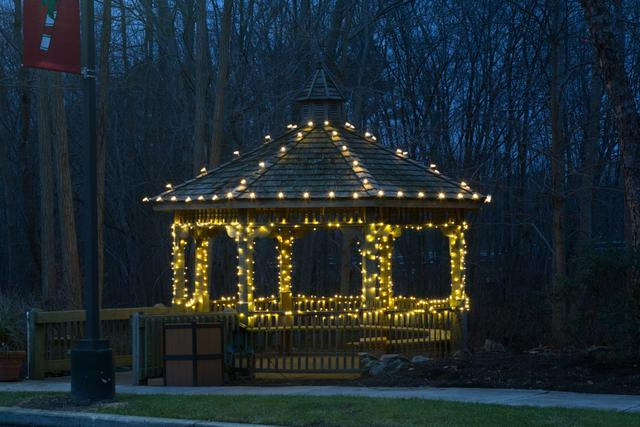 Bright lights brighten this gazebo in Millstone Township, NJ