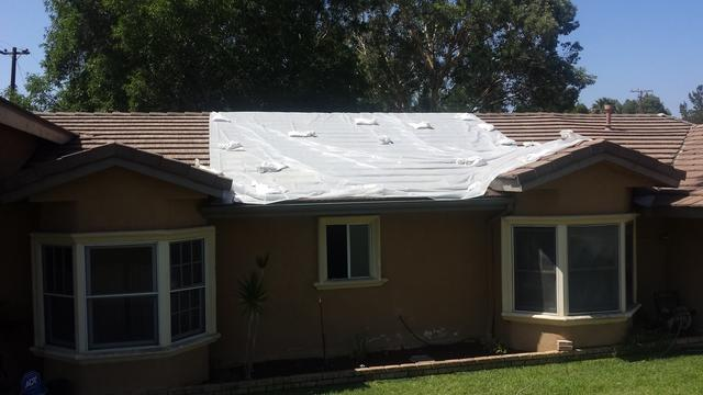 Roof Leak Repair in Chino, CA - Before Photo