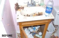 Project: Fire Damage in Bathroom - Before Photo