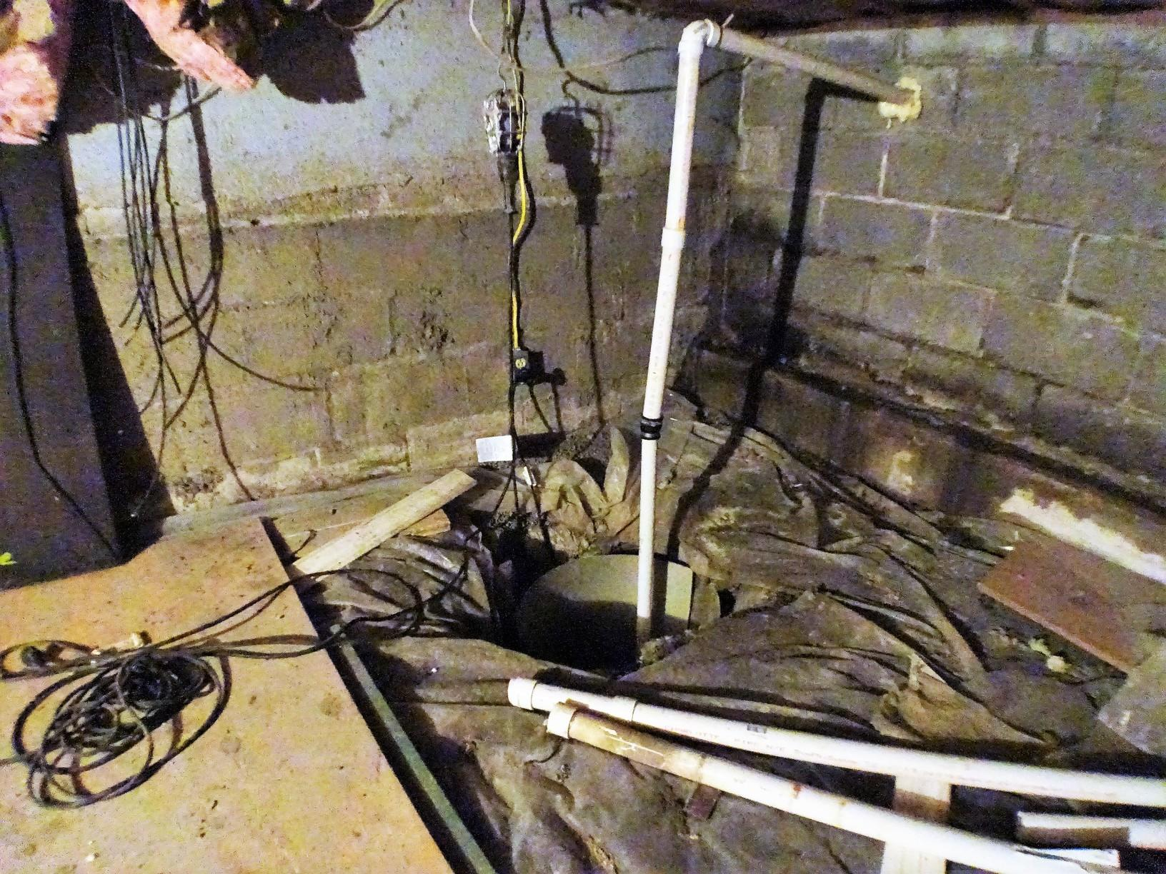 Pittsburgh PA Sump Pump Replaced In Crawl Space - Before Photo