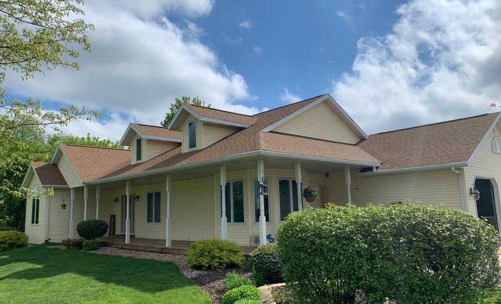 Hail Damaged Roof Replaced on Country Home near Mount Horeb - After Photo