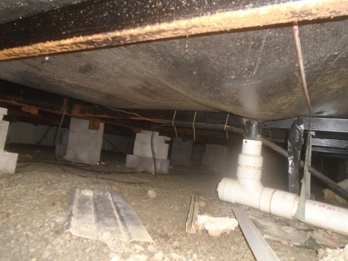Spray Foam Insulation Under A Mobile Home In Pavilion, NY - Before Photo