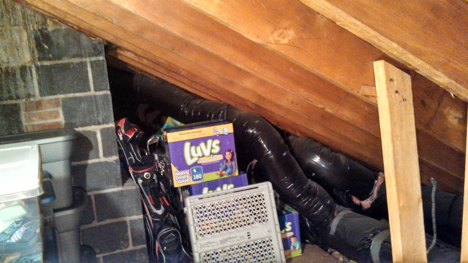 Insulated Ducts in Rochester Attic - Before Photo