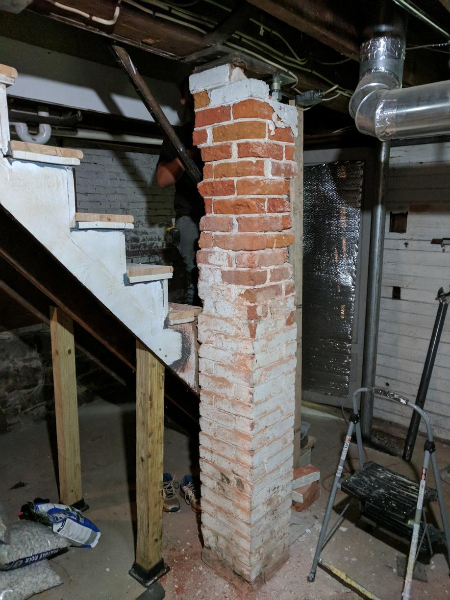 Replacing Basement Columns - Before Photo