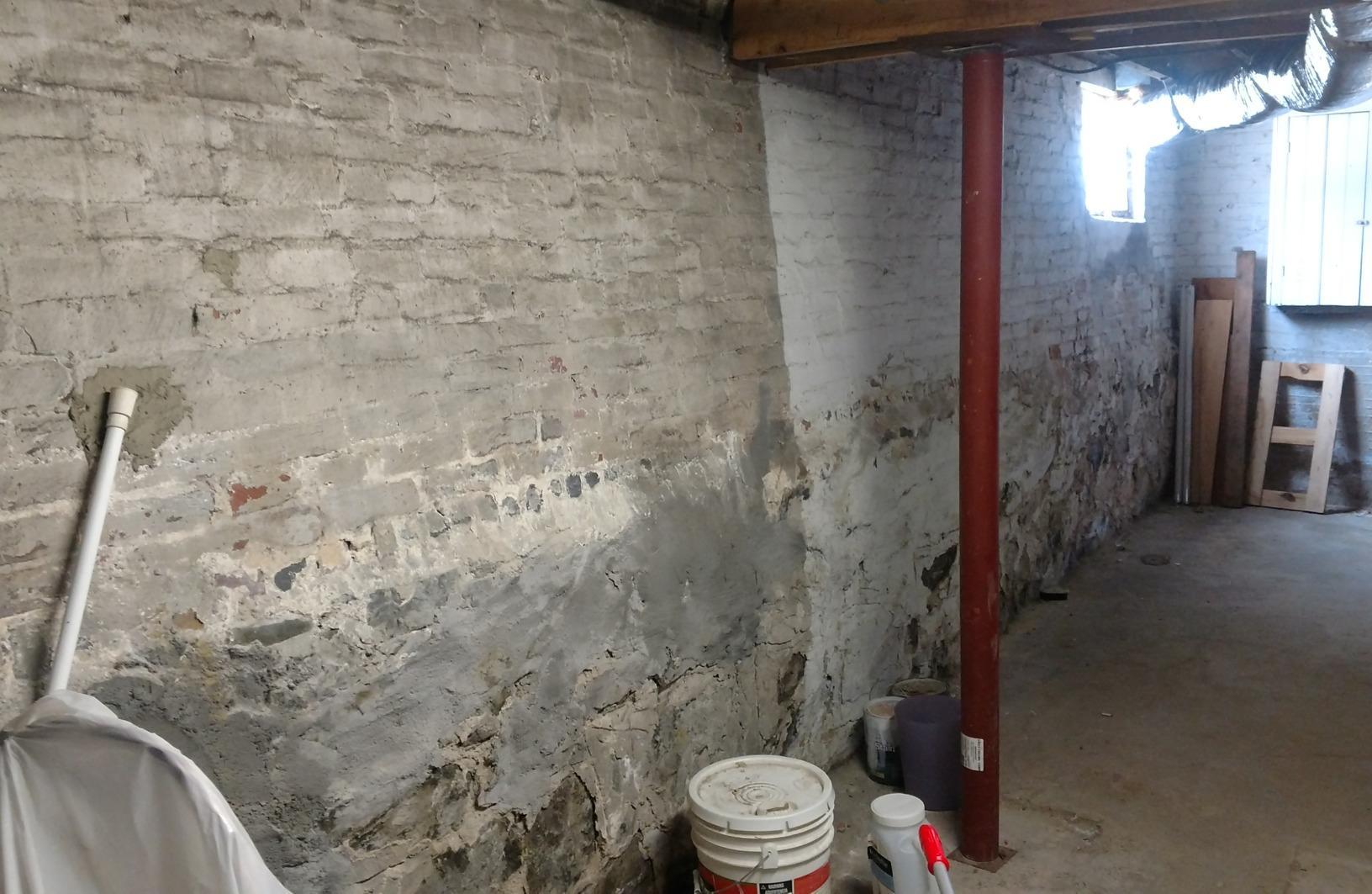 Medford, MA Bowing Wall Repair - Before Photo