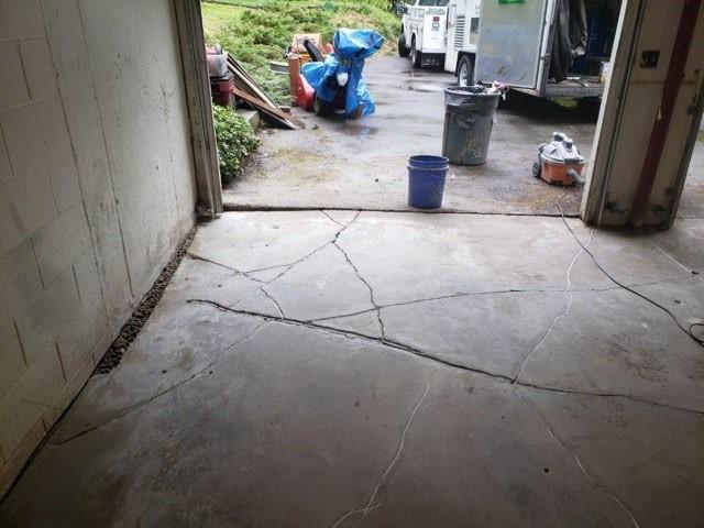 Cracked and Sinking Garage Floor, Bedford, New Hampshire