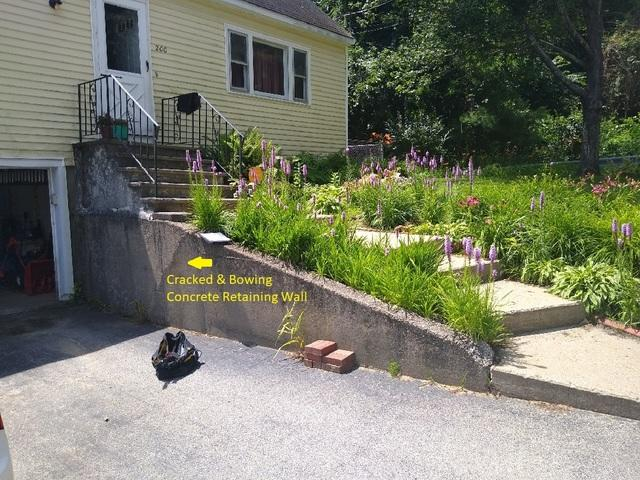 Leaning Concrete Retaining Wall, Manchester, NH