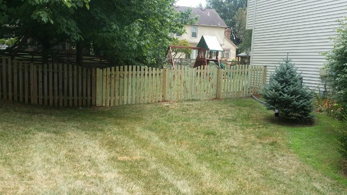 Pressure Treated Picket Fence Installation Ashburn, VA - After Photo