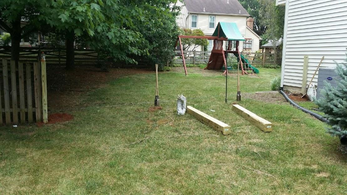 Pressure Treated Picket Fence Installation Ashburn, VA - Before Photo