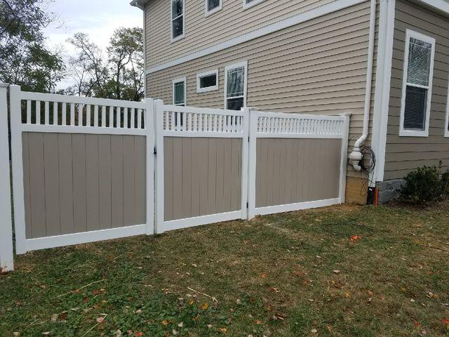 Before and After Vinyl Privacy Fence installation, Aldie VA