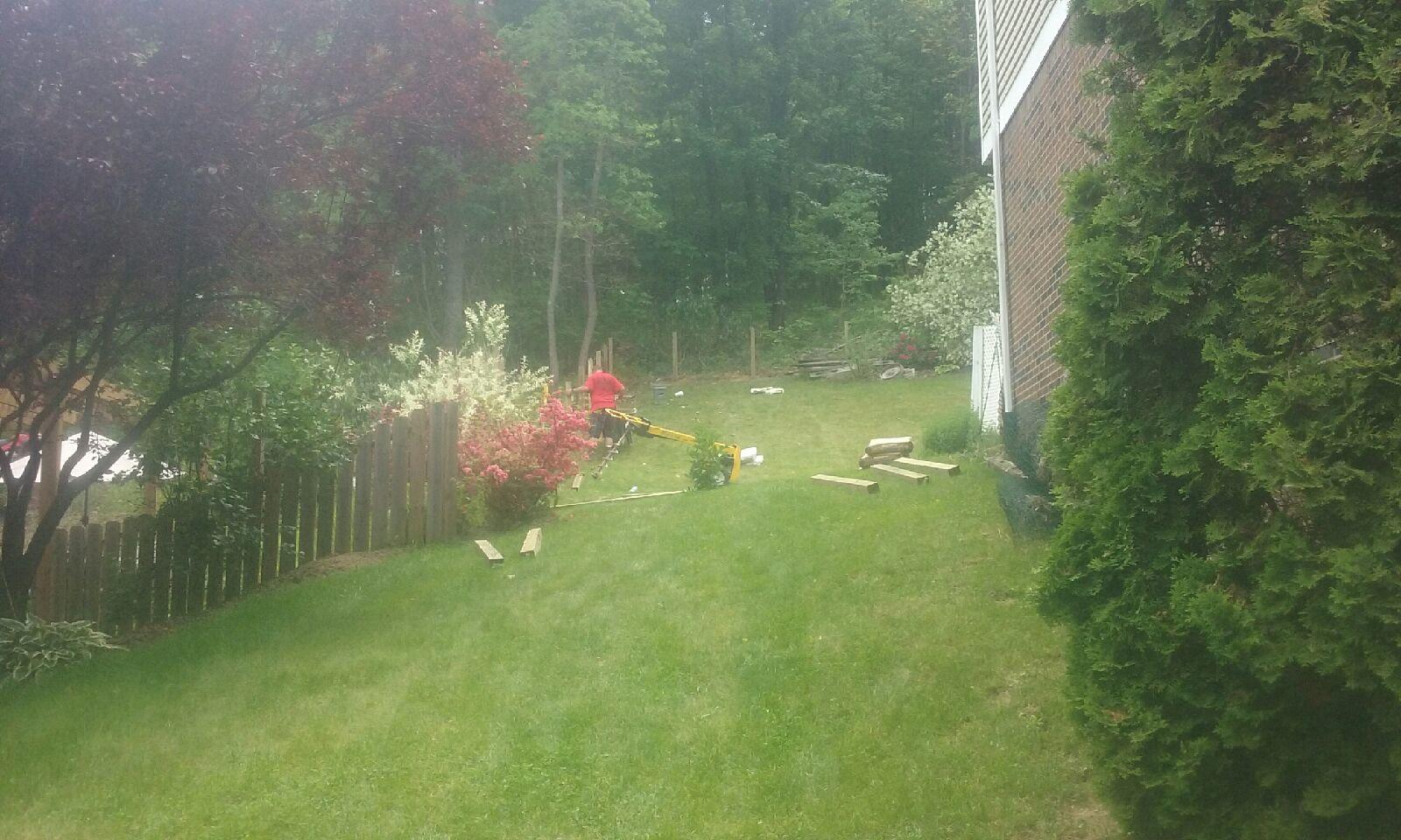 4' Treated Wood Privacy Fence Installation in Monroeville, PA - Before Photo